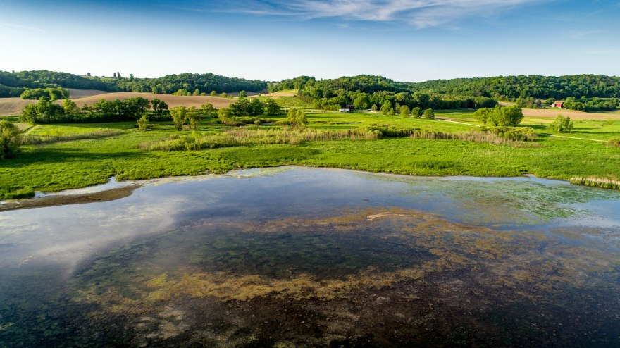 The shoreline of Indian Lake curves along the forest under a beautiful cloudy blue sky on a summer day. The center of the lake has a rim of pond scum that looks like an iris and a pupil of an eye. An aerial photograph taken by drone.